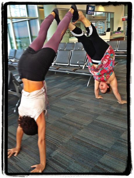 Calia & Helen airport handstands