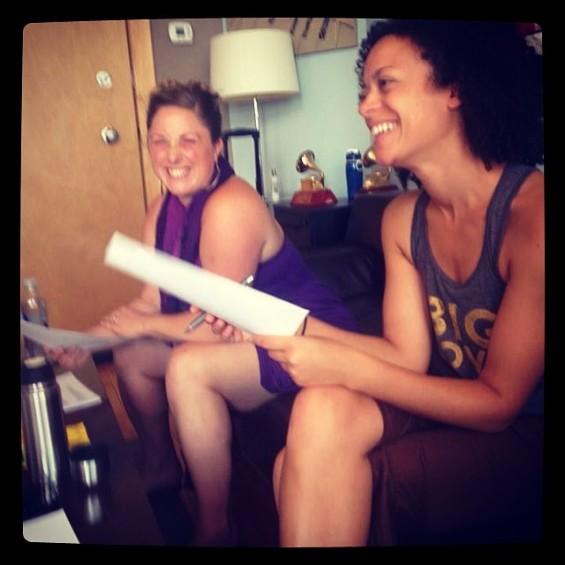 Helen and Calia recording with Mirabai